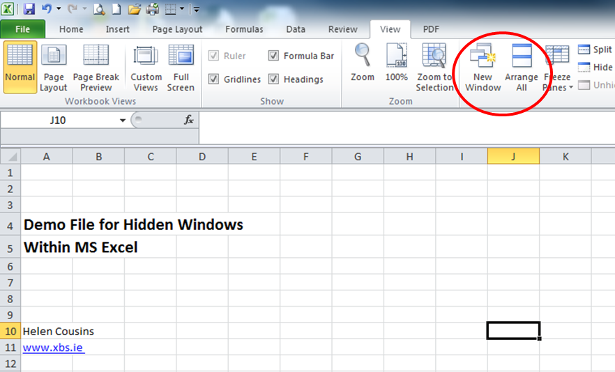 excel new window